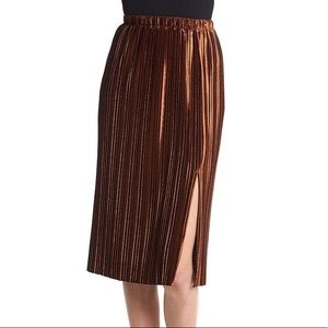NWT Velvet Copper Colored Accordion Pleat Skirt
